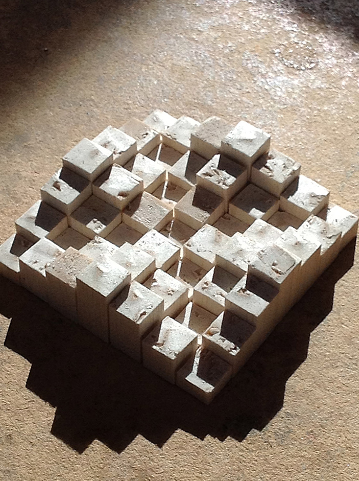 Experimenting with a quick arrangement of little balsa wood blocks