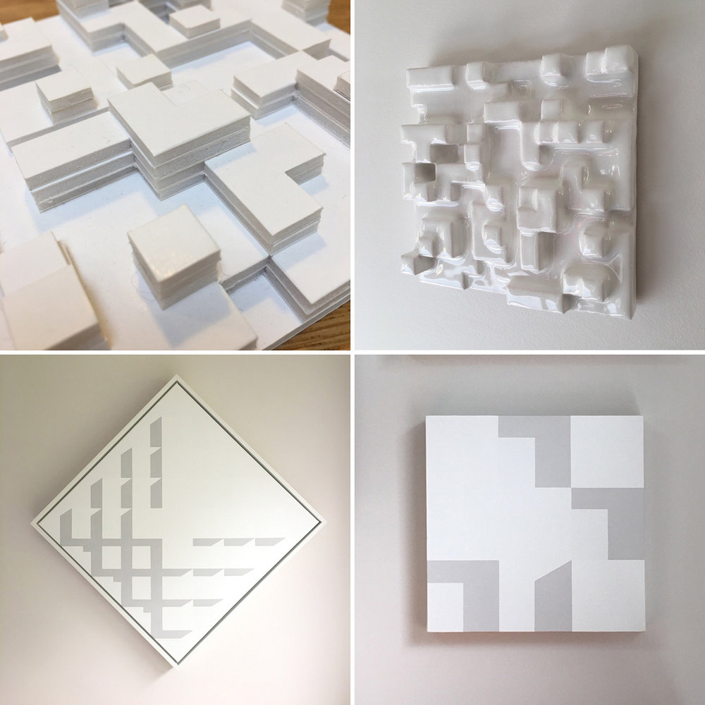 My own work (card mockup, ceramic wall-piece, paintings), inspired by shadows falling on white forms.