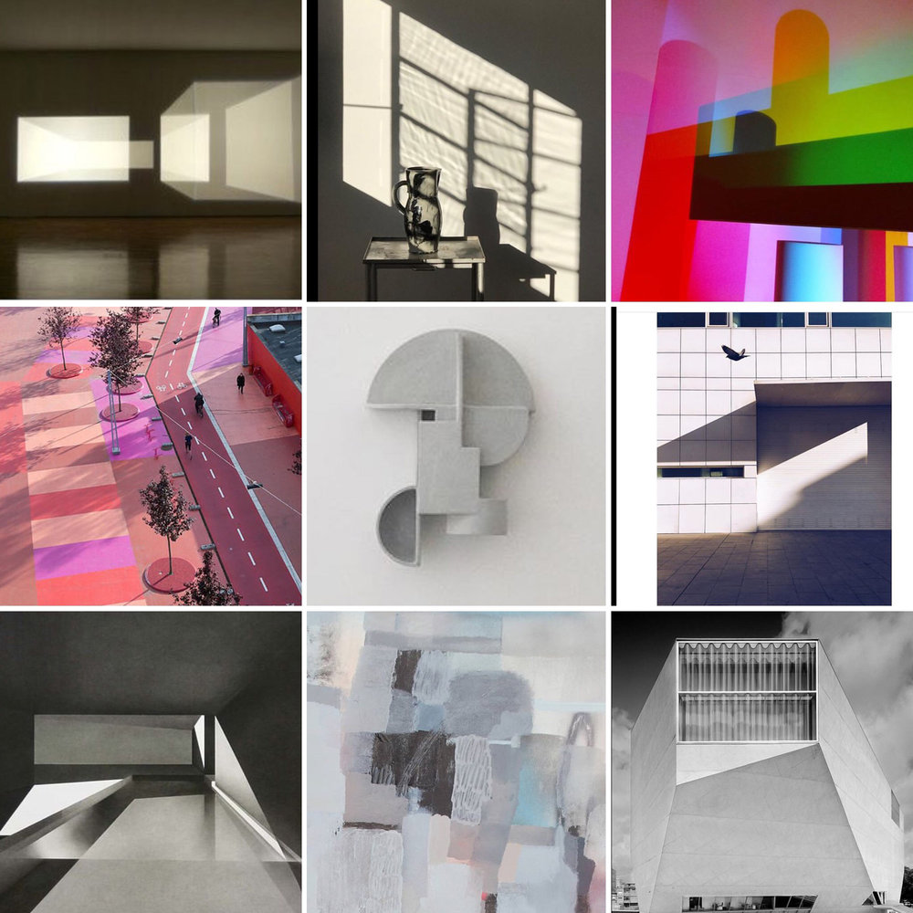 Images saved from Instagram and Pinterest (clockwise from top left): Olafur Eliasson, @space napier , @lindsay.packer, @jonathanlawes, building by Rem Koolhaas, @nelio, @jemma_appleby, Superkilen project in Denmark by BIG, @derekjwilson