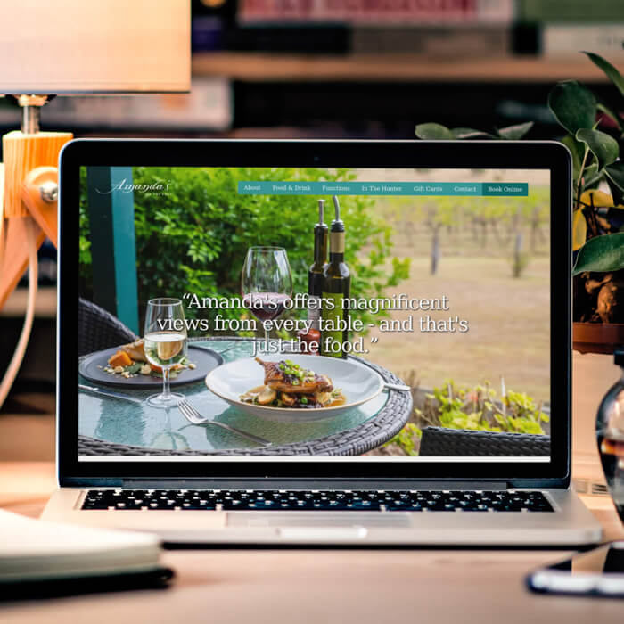 Photo of Amanda's on the Edge restaurant in the Hunter Valley - a website we designed