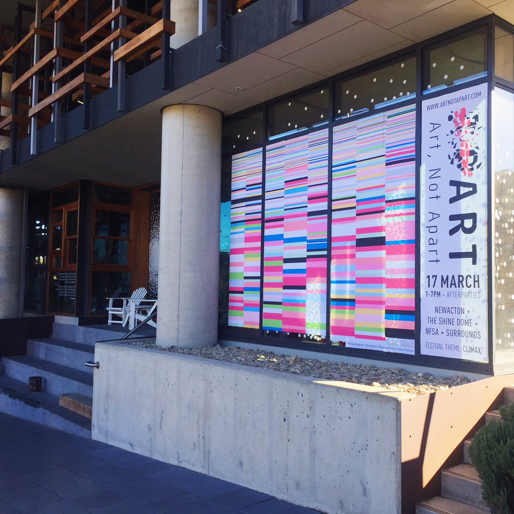 Artnotapart 2018 | Festival banner | Jodie Cunningham 'Competency Mapping Meeting 2017' Nishi Building
