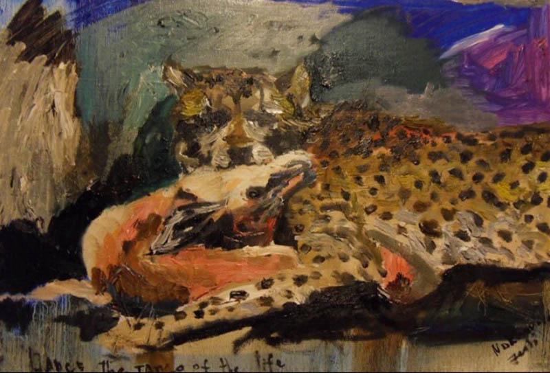 ghepard & gazelle canvas, oil 50x35cm, 2011