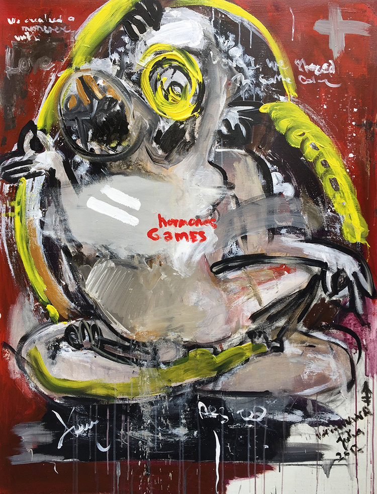 hormone games canvas, acrylic 130x100cm, 2017