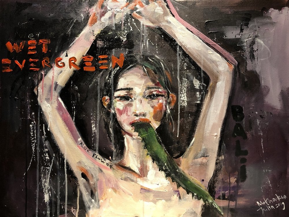 wet evergreen  canvas, acrylic 60x180cm