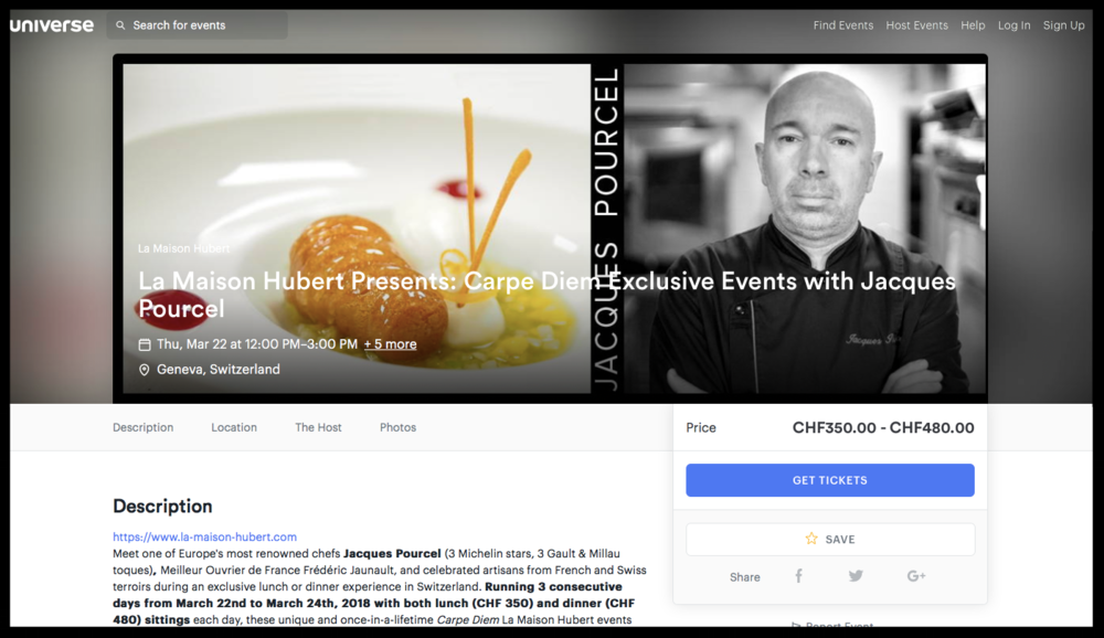 Our new ticketing platform on the Jacques Pourcel Carpe Diem event page.
