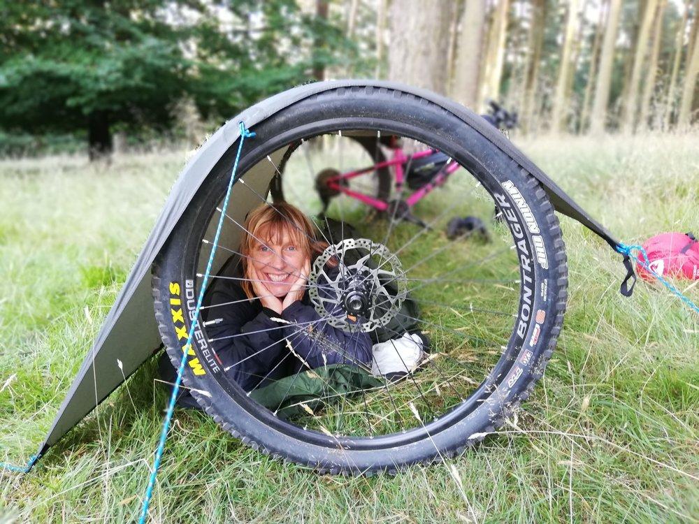 Liz looking happy with her tarp set-up!