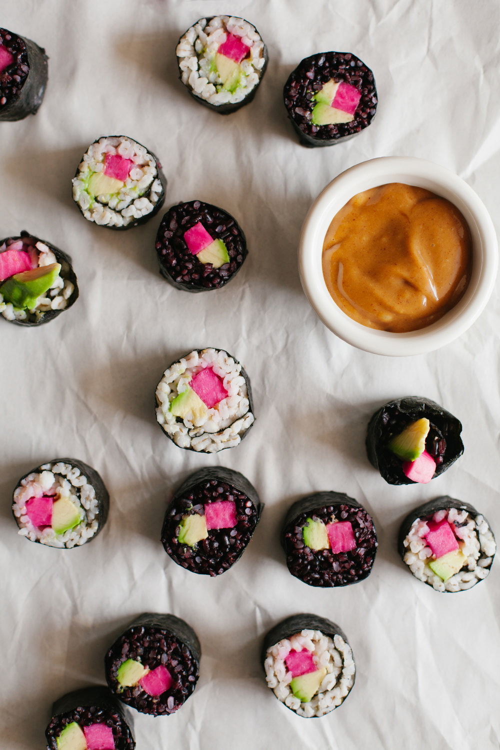 PICKLED TURNIP AVOCADO BARLEY AND BLACK RICE  SUSHI ROLLS.jpg