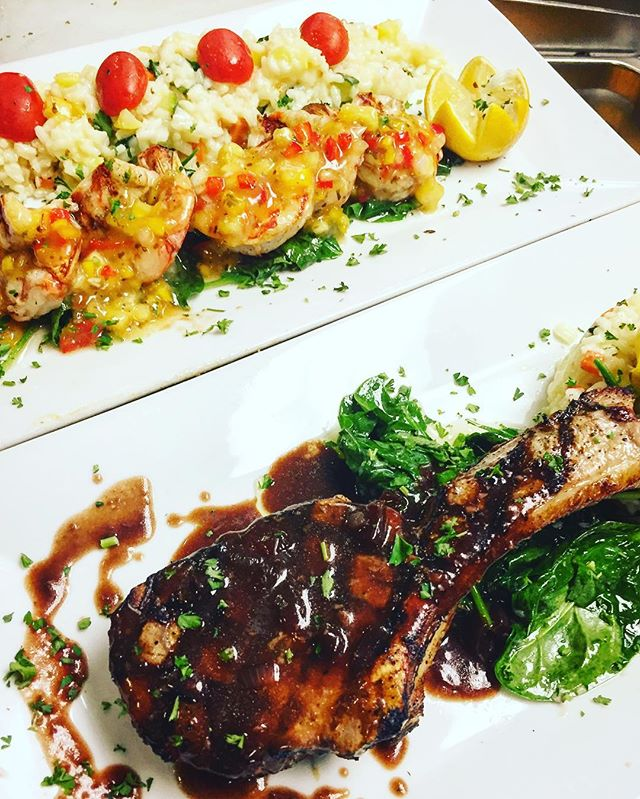 Some citrus glazed jumbo shrimp and veal chop always sound good. Come out and have a bite . #soflo #delicious #bocaraton #rafinagreektaverna #rafina #yelp #deezgreeks #dinner