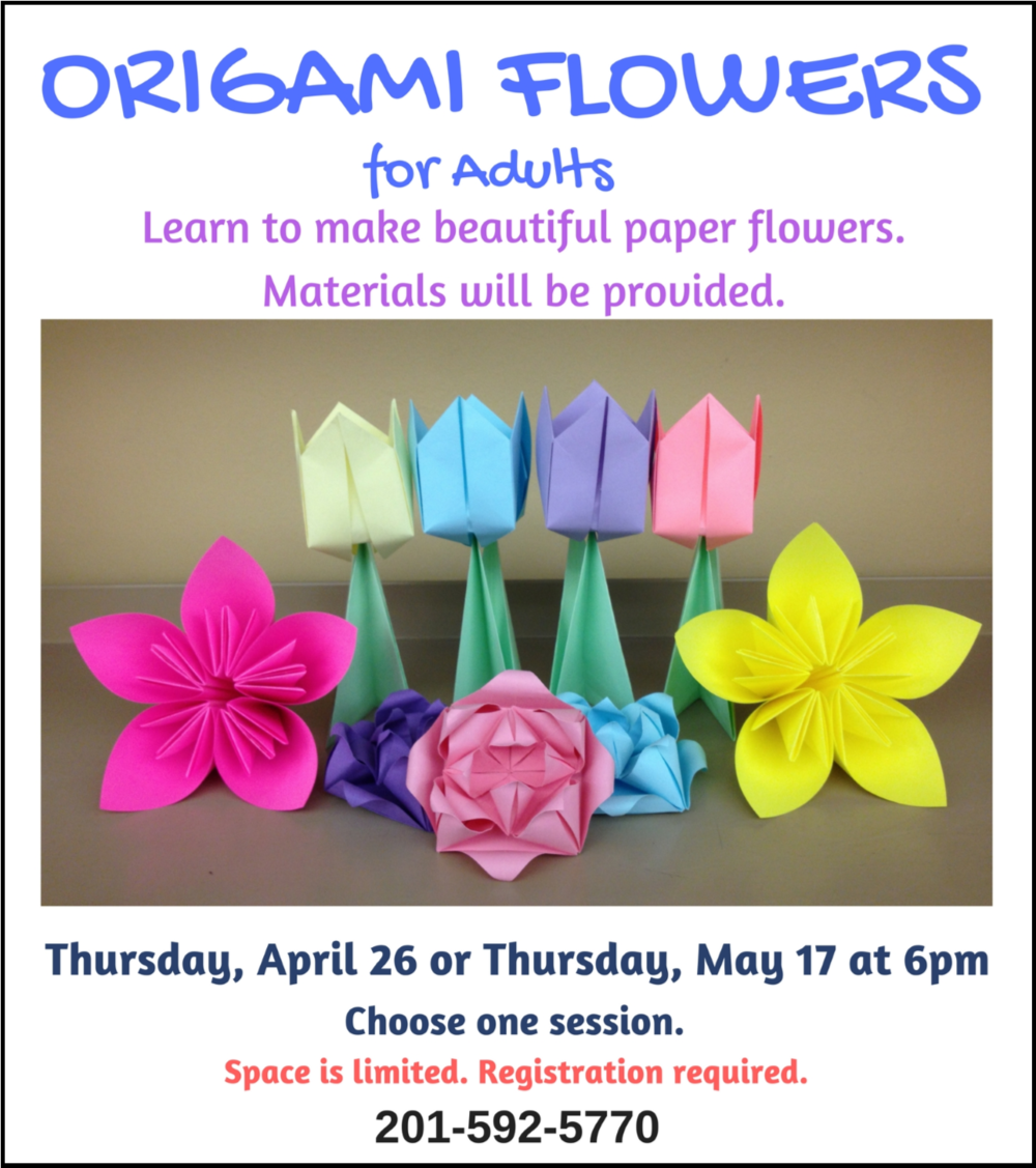Making Origami Flowers Leonia Public Library In Bergen County