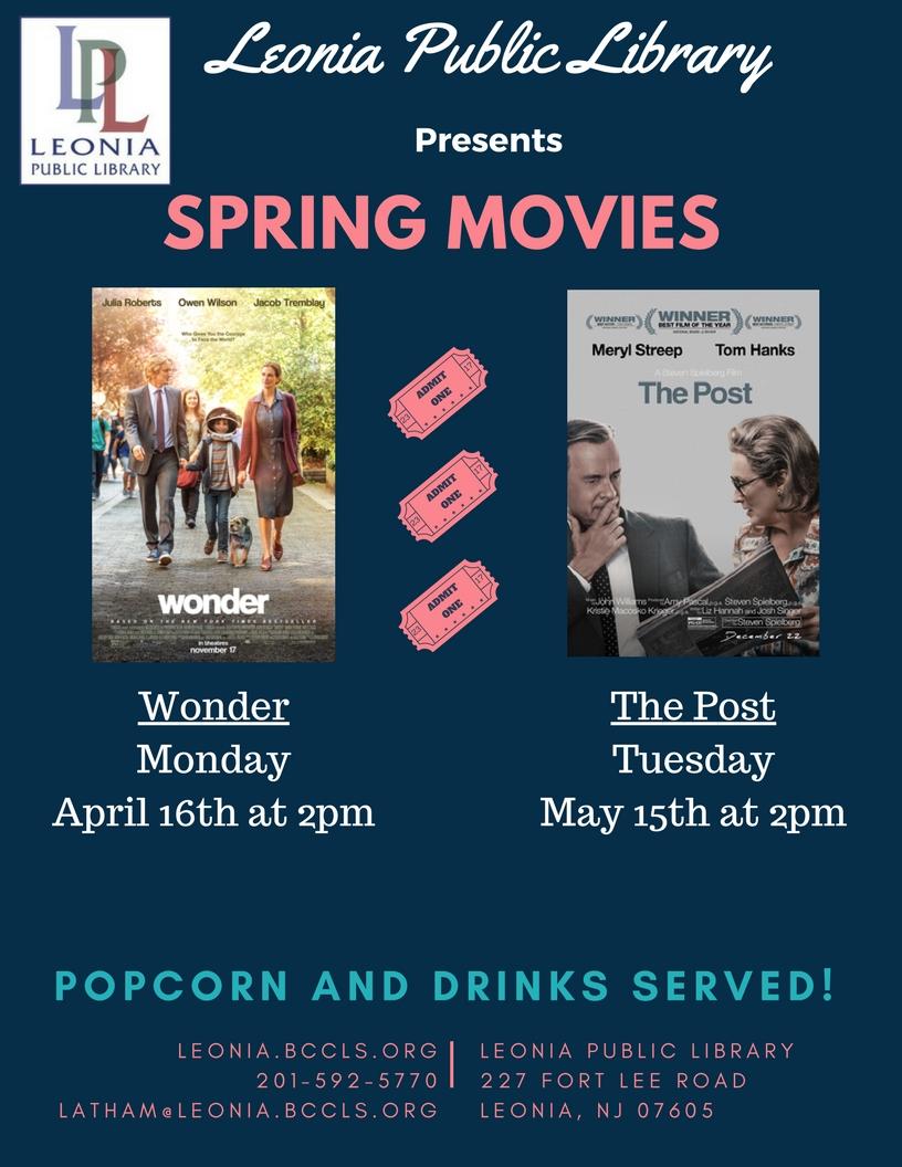 Movie Screening - Wonder — Leonia Public Library in Bergen County