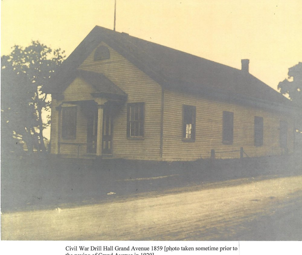 Military Service - An armory, built on Grand Avenue in 1859 as a place for storing munitions and mustering the local militia, came to be called the Civil War Drill Hall. It is Leonia's oldest public building.Civil War Drill Hall Grand Avenue 1859 (photo taken sometime prior to the paving of Grand Avenue in 1920)