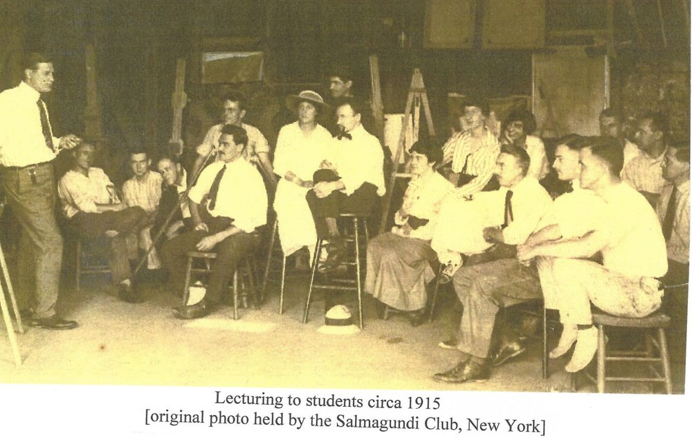 Lecturing to students circa 1915 - In the 1890s artists began settling in Leonia. The varieties in the landscape (hills, orchards, meadows, streams, farms) provided countless subject matter, and its proximity to New York's major art galleries added to its appeal. Many of these artists made their living as magazine illustrators in New York. Leonia grew into a colony of artists further stimulated by the opening of a summer school of illustration in 1915.(original photo held by the Salmagundi Club, New York)