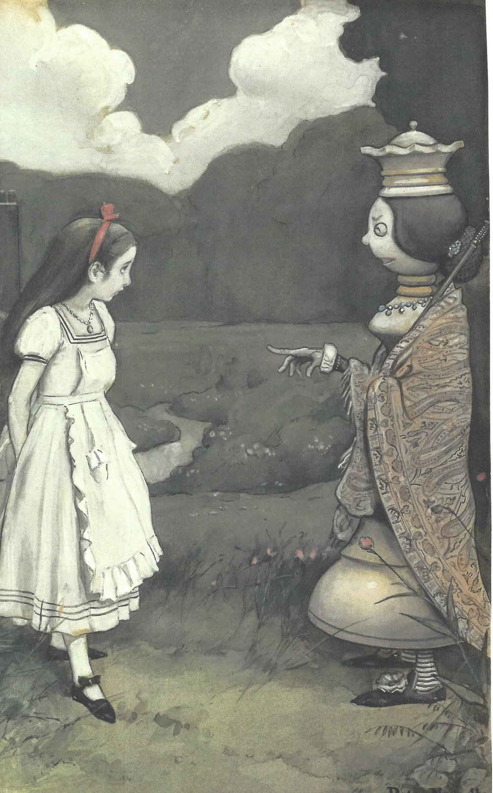"""Peter Newell's Alice - The first artist to arrive was Peter Newell in 1893 who was the original illustrator of the American edition of Alice in Wonderland, his daughter Jo having been the model for Alice.""""Through the Looking Glass"""" from Alice in Wonderland 1902, Watercolor (Leonia Public Library Art Collection)"""
