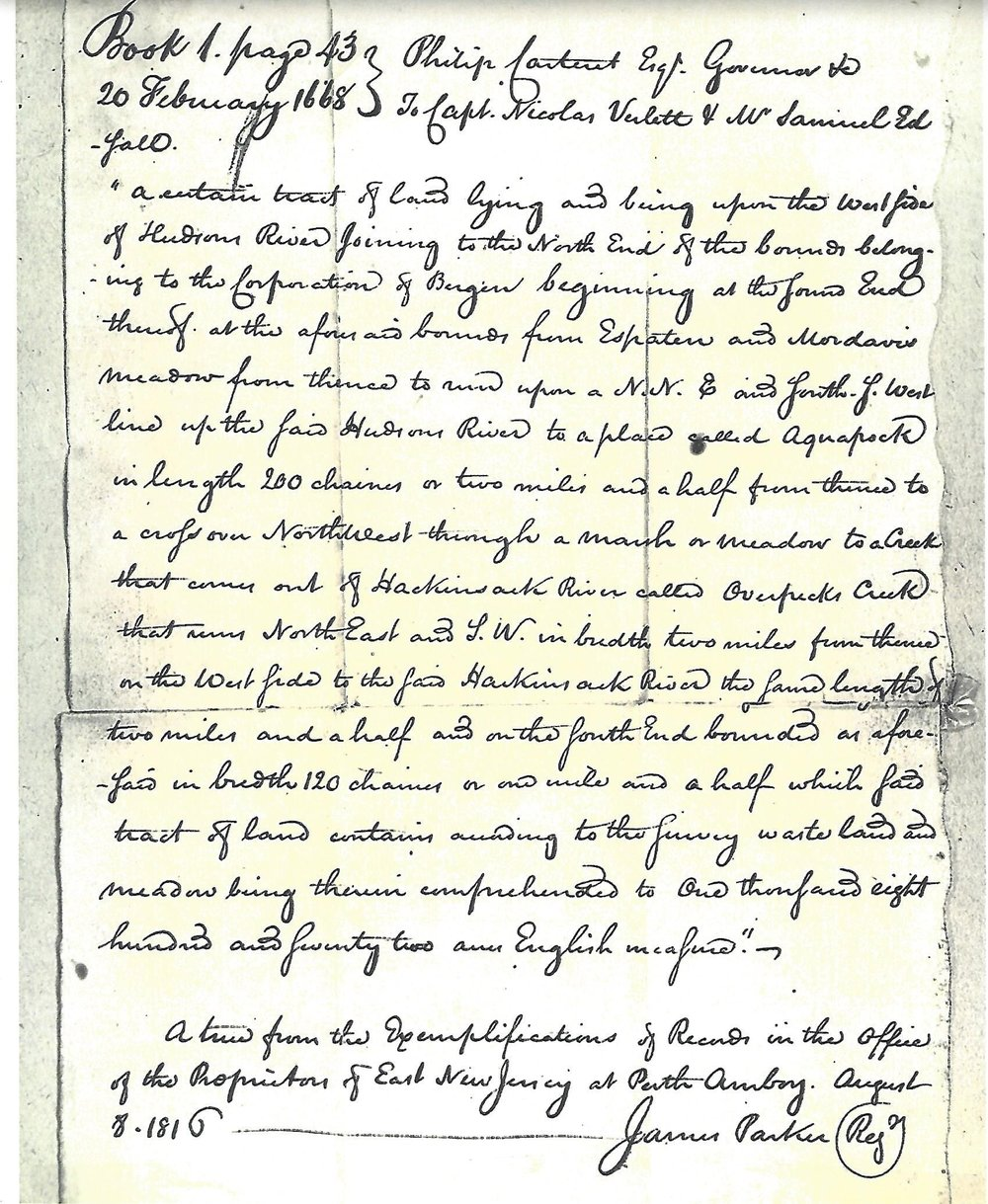 Earliest deed of land, February 20, 1668 (copy from Bergen County records)