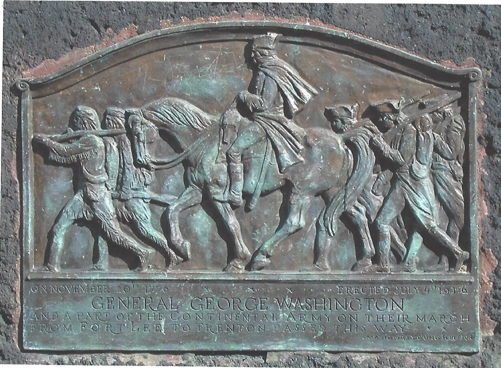 George Washington with his troops bronze plaque by Mahonri Young 1916 (Fort Lee Road in front of the Presbyterian Church)