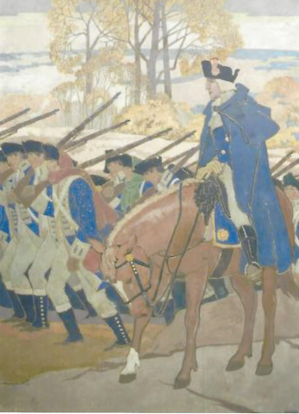 George Washington with his troops, mural - A second work marking that same day is a mural by artist Howard McCormick in the auditorium at the Anna C. Scott Elementary School. McCormick painted it as part of a WPA project in 1936.George Washington with his troops, mural painted by Howard McCormick 1936 (Anna C. Scott Elementary School)