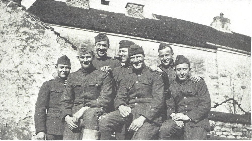 Leonians in France - Major Wyckoff took a group of Leonian boys to France as a hospital unit. Pictured here are some of Dr. Wyckoff's medical unit, the 114th Field Hospital.(France 1918)