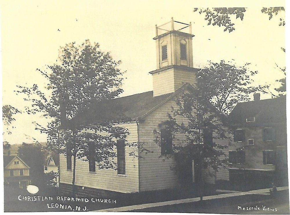 Christian Reformed Church built in 1822 was located on Grand Avenue (postcard collection)