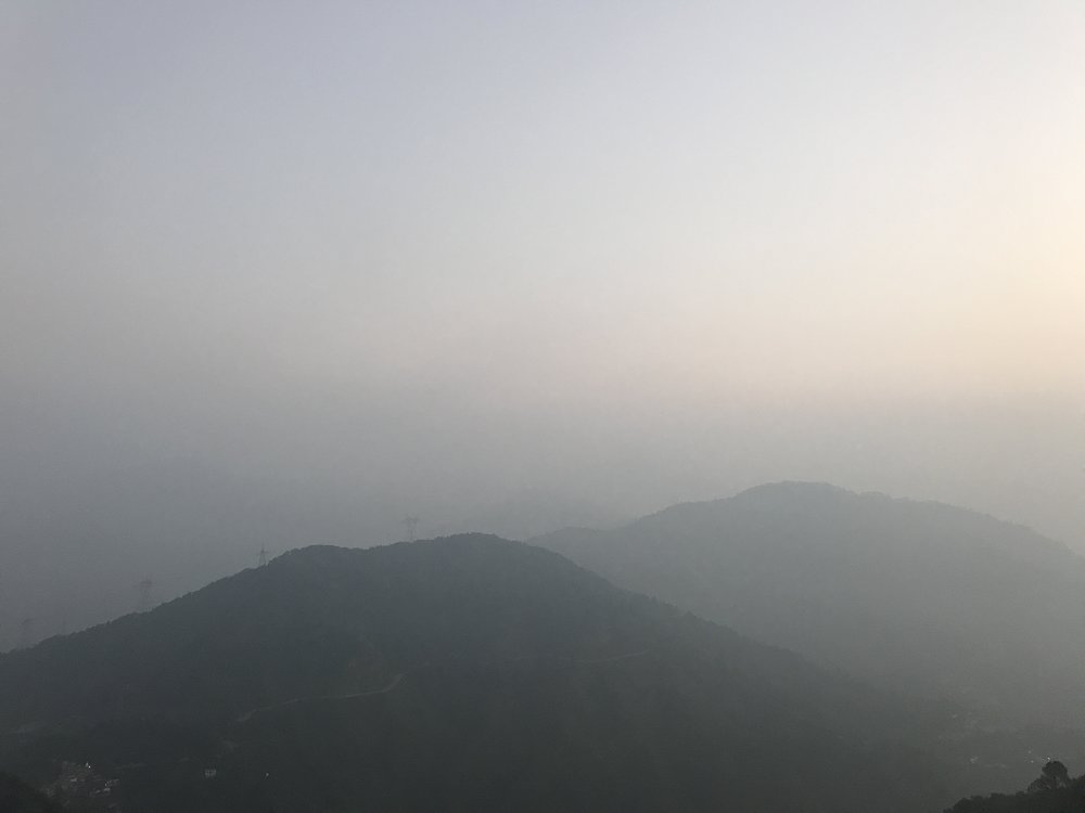 This photo was taken on the Mountaintop of Shri Kunjapuri Temple of Himalayan at sunrise.