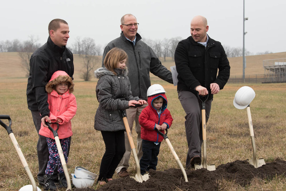 Gracie Campbell, Lilly Campbell, Mason Campbell, Rick Campbell, and Rick Campbell Jr. digging at the groundbreaking ceremony in Vinton County, Ohio on March 20, 2017.