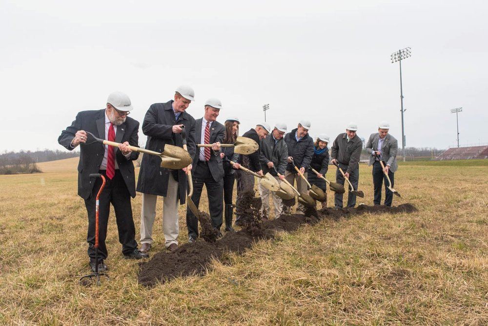 Honorary guests break ground on the construction site of Campbell's Market in Vinton County,Ohio on March 20, 2017.