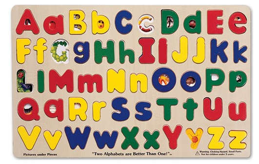 "The "" Upper & Lower Case Alphabet Puzzle "" by Melissa and Doug helps children recognize all of the letters of the alphabet, big and small! Under each letter piece puzzlers will find an image that relates to that letter, which is great early vocabulary development!"