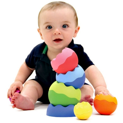 Little hands can't get enough of the stacking, toppling, spinning, balancing, wobbling, tilting, and wiggling of  Tobbles Neo . Great for both babies and toddlers.