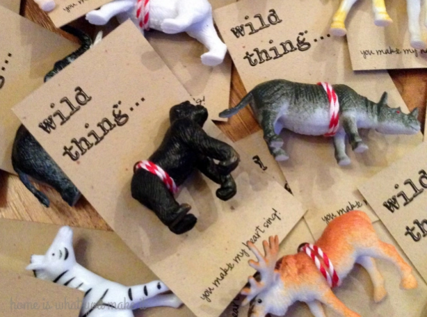 "This mom printed the ""Wild Thing"" message on business cards, then punched holes for the twist ties. Find some little animals  here ."