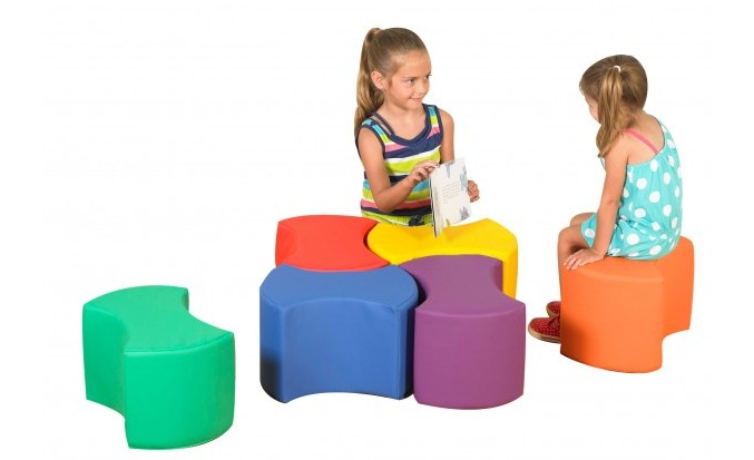 Bowtie Seating  can be arranged in a variety of ways by either the teacher or the children.