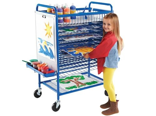 There are so many storage solutions that do double duty. This  Mobile Drying Rack  is also an easel with two magnetic dry-erase boards!