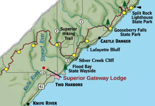MAP OF CASTLE DANGER (SUPERIOR HIKING TRAIL) and GOOSEBERRY FALLS