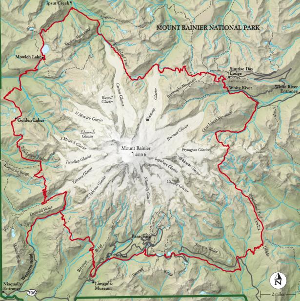 MOUNT RAINIER WONDERLAND TRAIL MAP