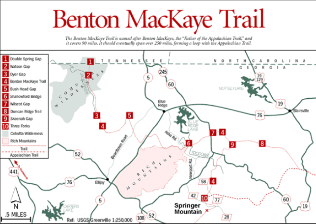 MAP of Benton MacKaye TRail - For CAMPING, Hiking, and BACKPACKING