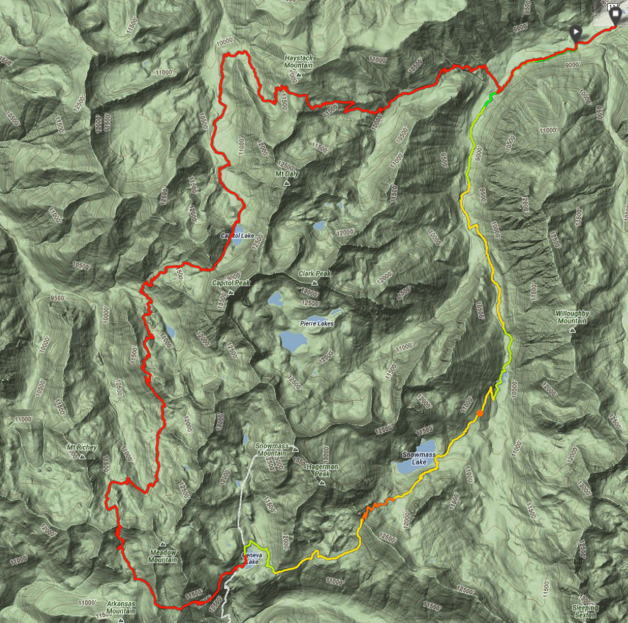 How to get to Capitol creek circuit loop (super loop) map of trail in Colorado.