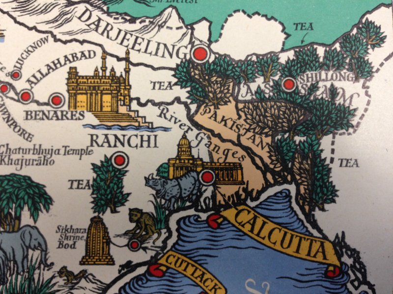 Detail: East India, Bangladesh and North-East India, from Three Great Tea Countries (1949). CUL Map Room.