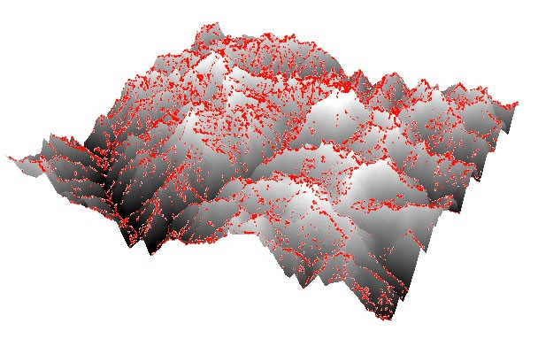 The point cloud (red dots), overlaid on the relief map in ESRI ArcScene