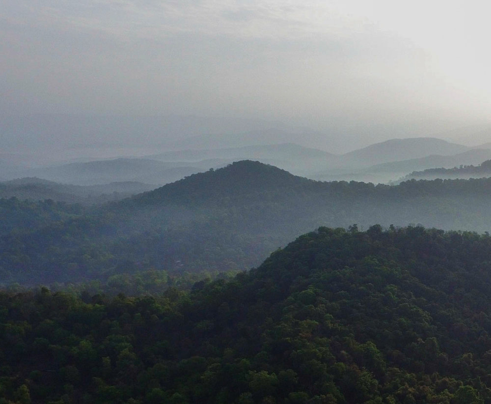 Aerial photography of a wildlife sanctuary in the Western Ghats