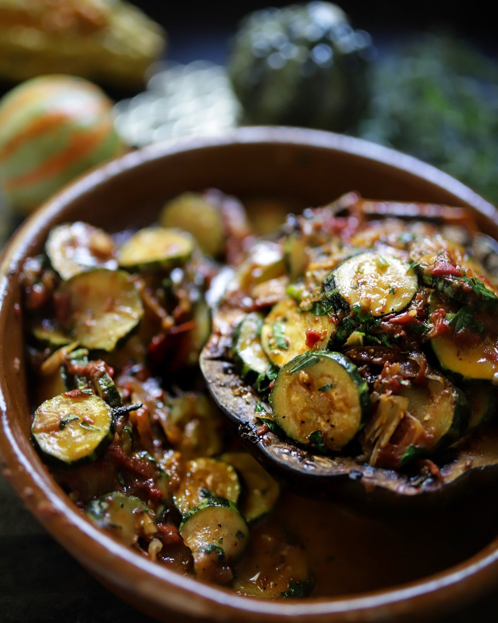 Farmers market acorn squash and zucchini