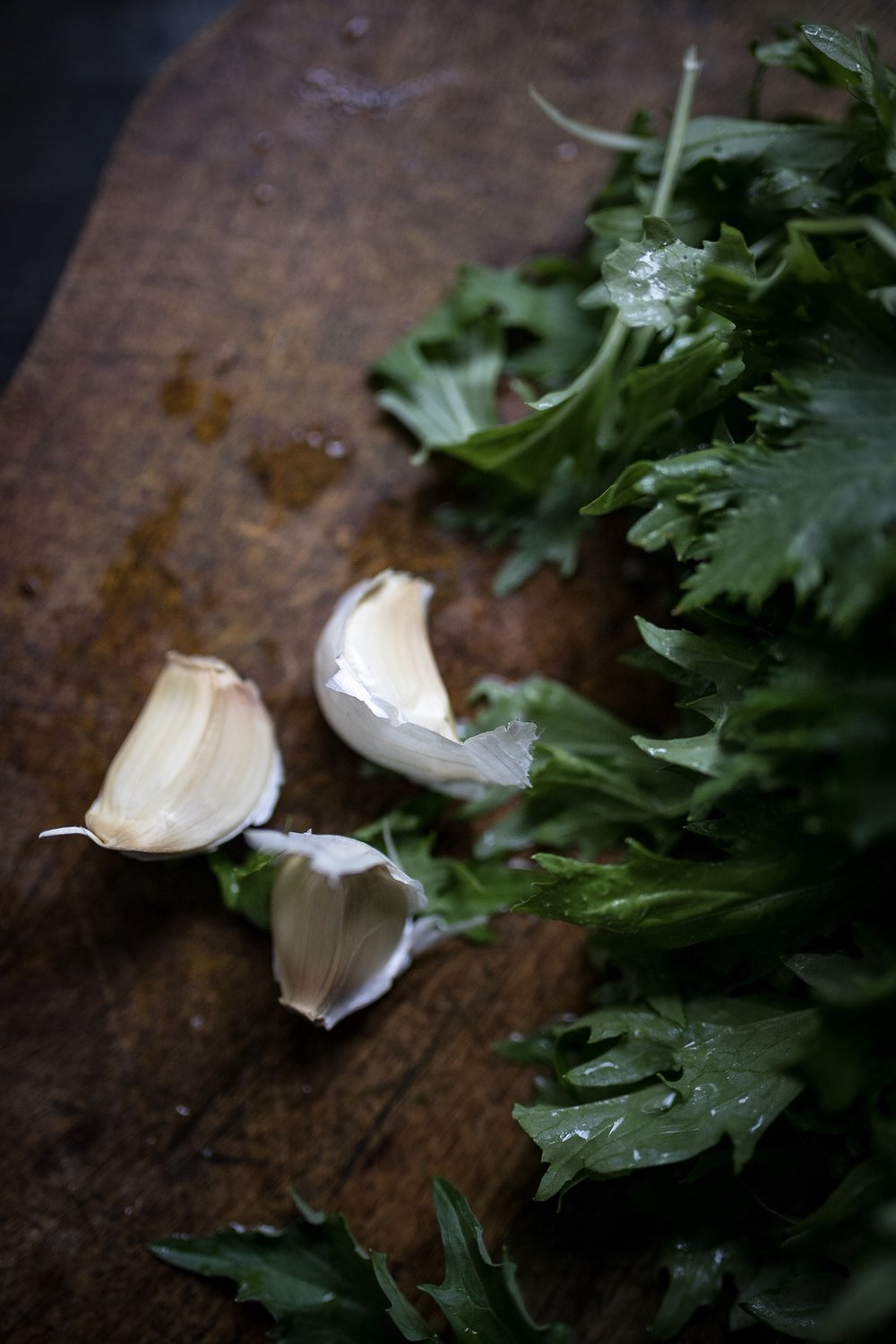 Garlic is imperative here, but if you want a little less intense of a pesto, add only two cloves