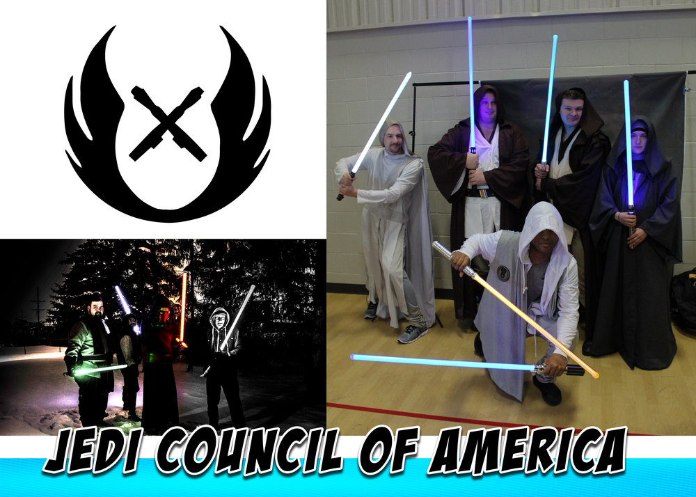 Jedi Council of America - The Council is a multi-state organization originally founded in 2016 in Michigan. The council is an open format Star Wars group welcoming established characters and unique characters. Specializing in saber dueling demonstrations.
