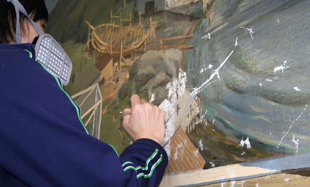 Photo: Boston Harbor mural during restoration