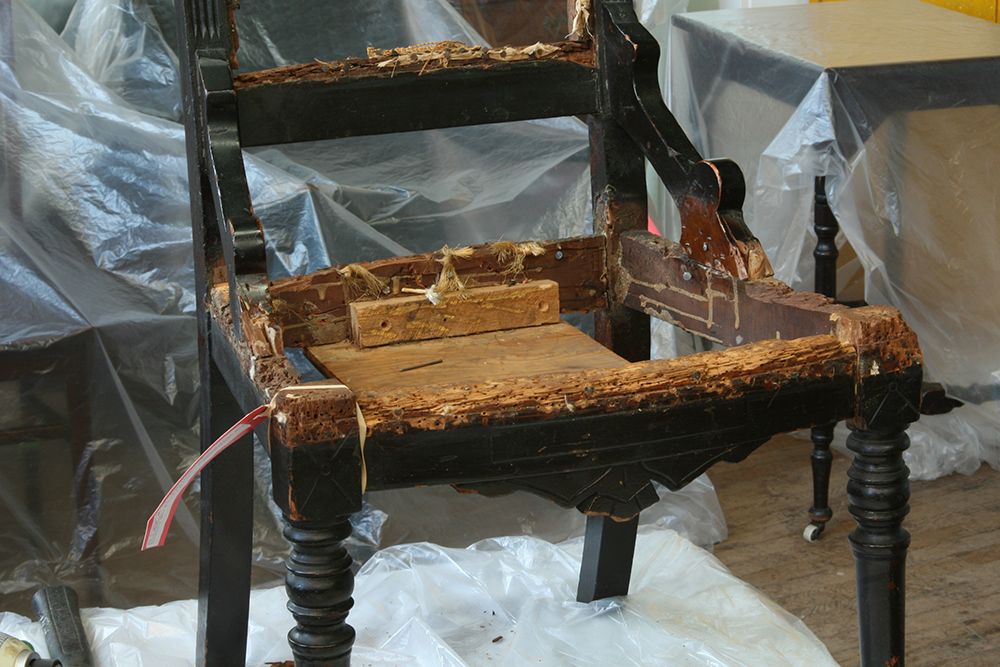 Photos:  Frame condition revealed after upholstery removal