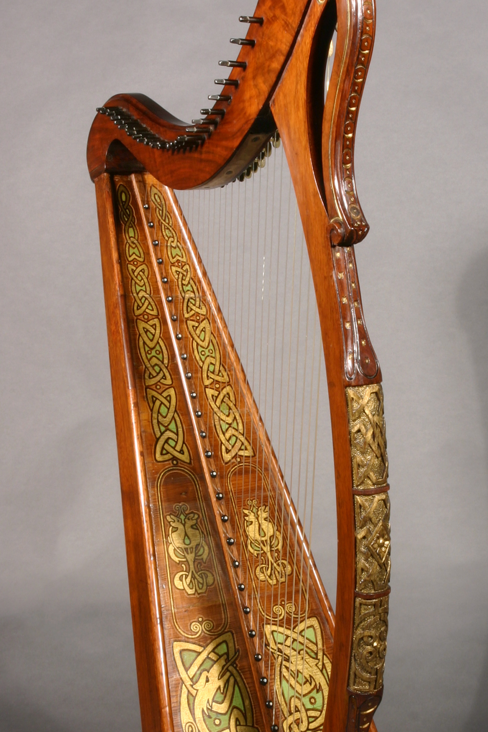 James McFall harp with with gilt, green, and black polychrome designs