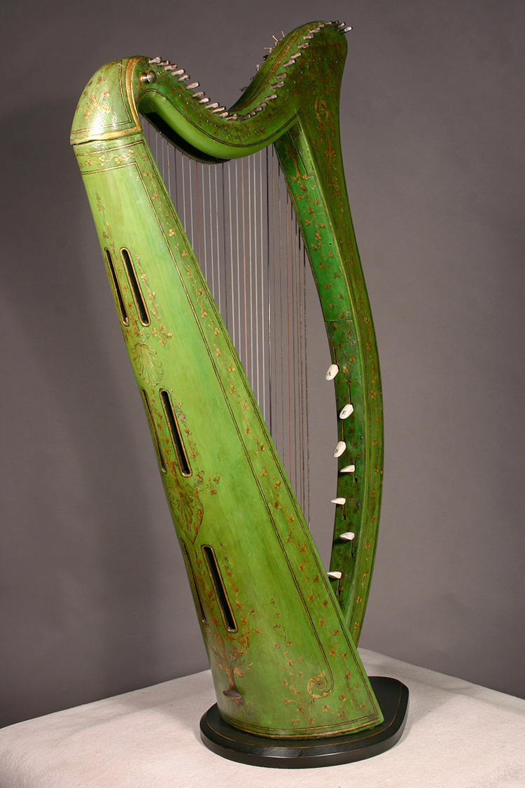 Historic John Egan harp after restoration