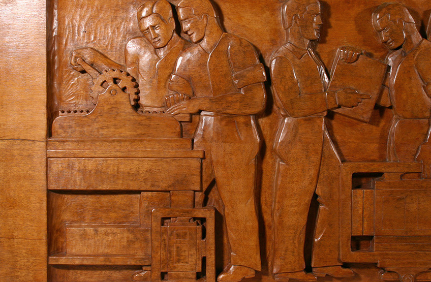 Photos above:  The Evolution of the Book,   Wood Sculptural Relief by Peterpaul Ott, detail before and after conservation