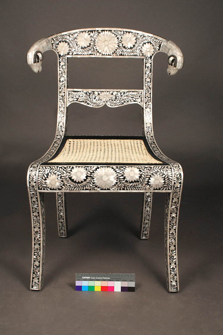 Mother-of-Pearl inlaid klismos style chair - front view