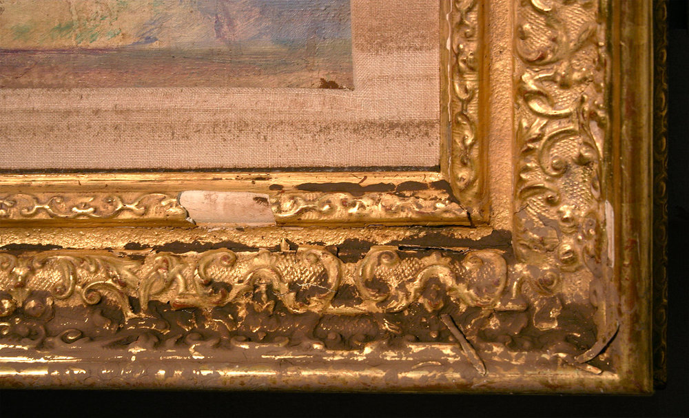 Detail of an oil painting on canvas housed within a gilded frame, recovered from contaminated flood water
