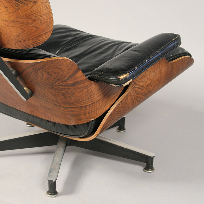 Eames chair detail before treatment with visible damage to welting