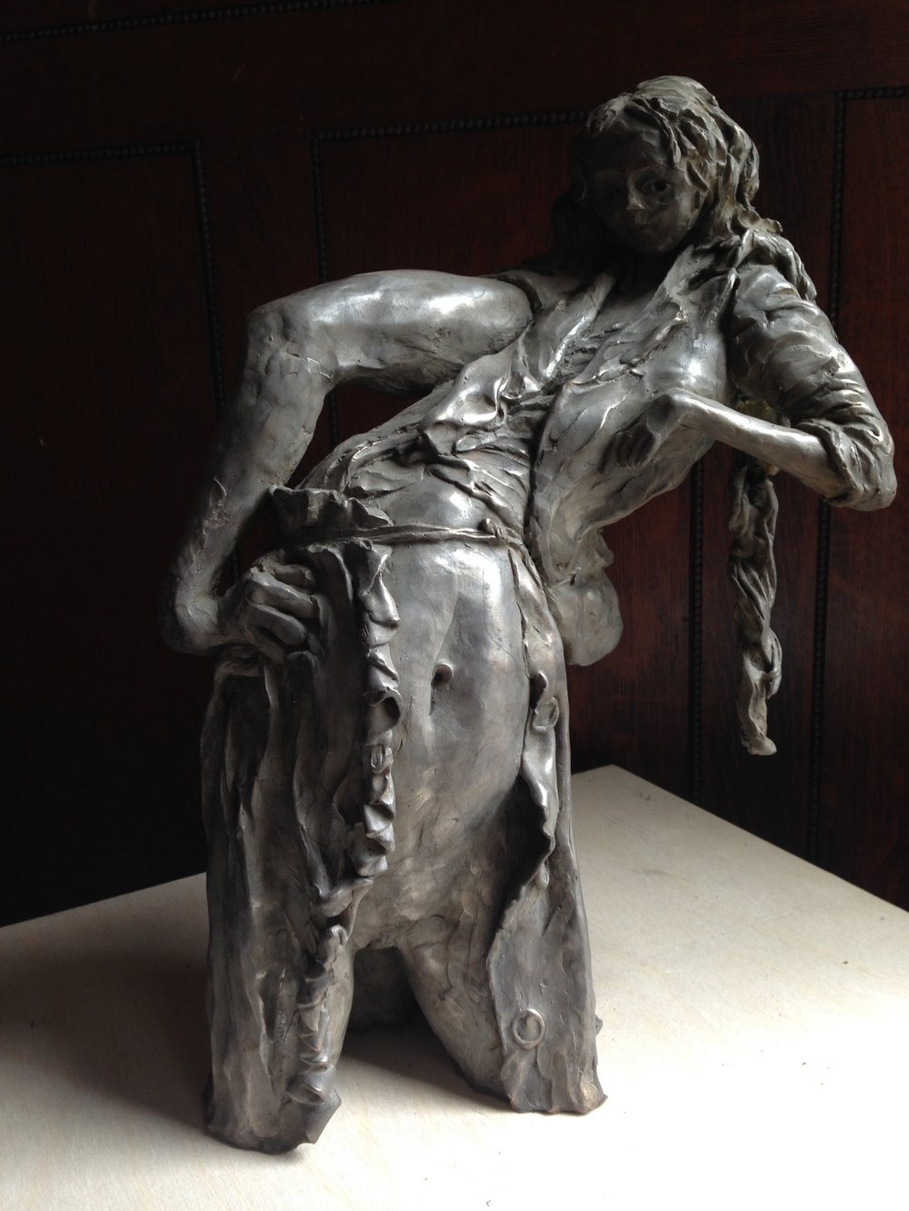 """A Girl Leans ""  2016,   Cast Bronze with Silver Nitrate patina. Cast from wax of clay original.  In edition of 5 at Somerset Foundry, West Bath ME"