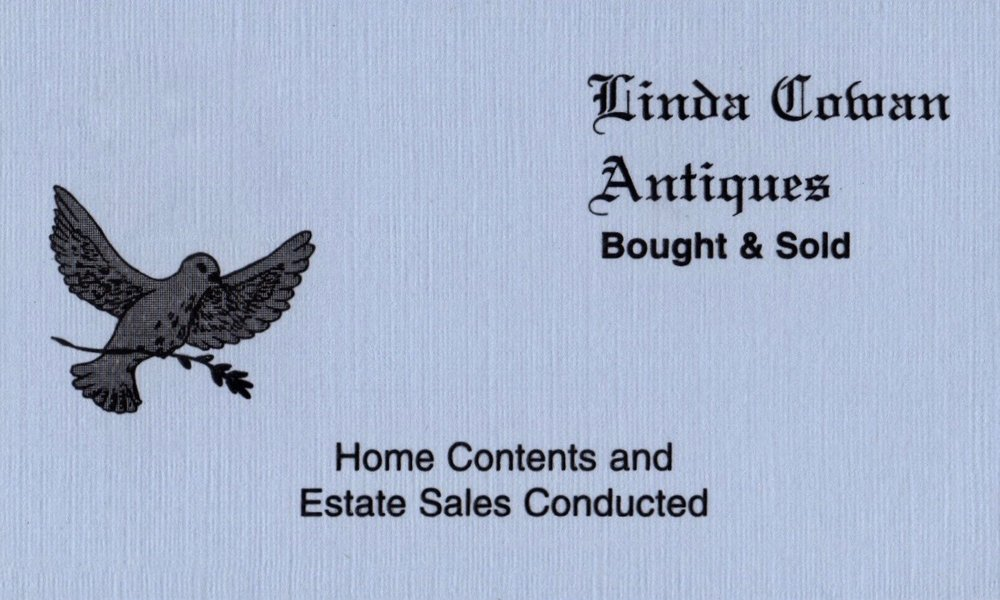LINDA COWAN ANTIQUES   Linda Cowan has 30 years of experience in the antiques business, specializing in vintage costume and mixed jewelry, silver and other small items of interest. Linda also runs select estate sales.